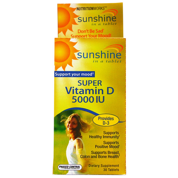 Sunshine Vitamin D-3 5000 IU     30 Tablets