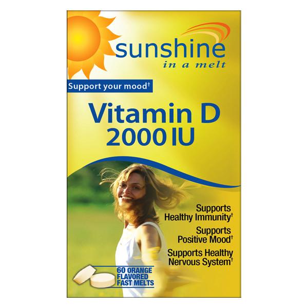 Sunshine Vitamin D-3  2000 IU   60 Orange Flavor Fast Melts
