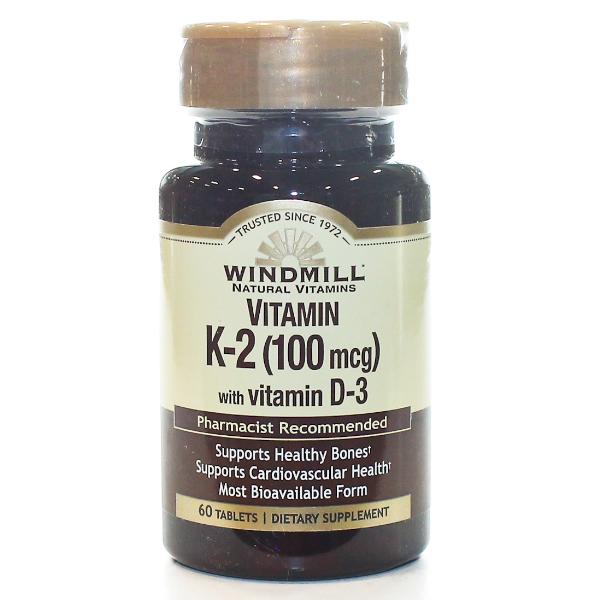 Vitamin K-2  100mcg With Vitamin D-3 60 Tablets