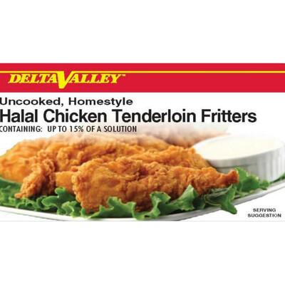 Delta Valley Halal Uncooked Home Style Mild Breaded Chicken Tenderloin Flitters- 10 lb