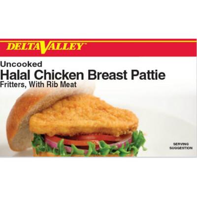 Delta Valley Halal Raw Breaded Chicken Breast Patty- 10 lb