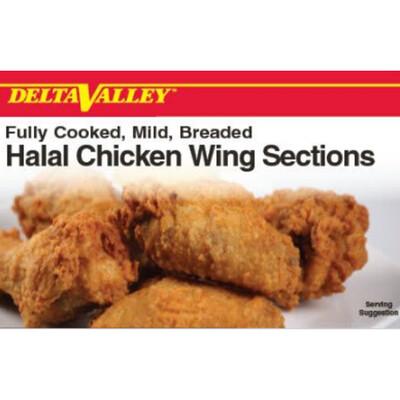 Delta Valley HalalFully Cooked Mild Breaded Chicken Wing - 10 lb