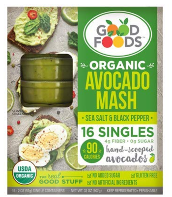 Good foods Organic Avocado Mash Sea Salt and Black Pepper 2oz- 16 pc Total 32oz