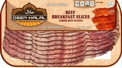 Deen Halal Beef Breakfast Bacon Slices 12oz