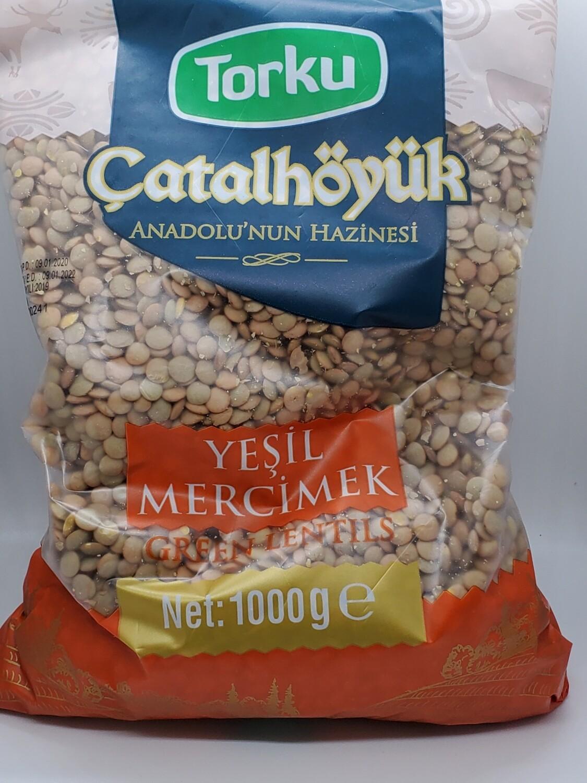 Torku catalhoyuk Green Lentil (Yesil Mercimek) Product of Turkey 1kg