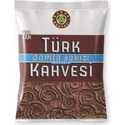 Kahve Dunyasi Damla Sakizli Turk kahvesi Traditional Turkish Coffee with mastic gum