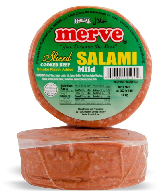 Merve  Halal Beef Salami Sliced 1lb