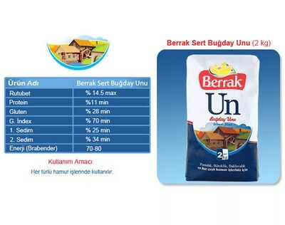 Berrak wheat flour for all-purpose 2kg 4.4lbs