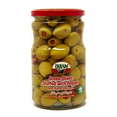 Ikram GREEN OLIVES STUFFED RED PEPPER 720GR