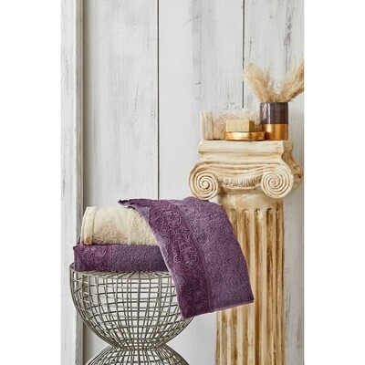 Karaca Home Valeria Royal Dantelli Mürdüm Bath Set