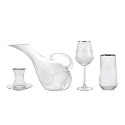 Karaca Fine Pearl Helen 49 Piece Dinner Set Collection Glass Set Platinum