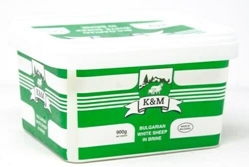 K&M Bulgarian Feta Cheese, White Brined Sheep's Milk Cheese (sirene) 900gr Plastic