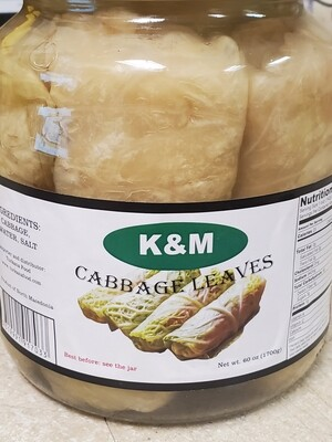 KM Cabbage Leaves 1700gr in Brine Glass