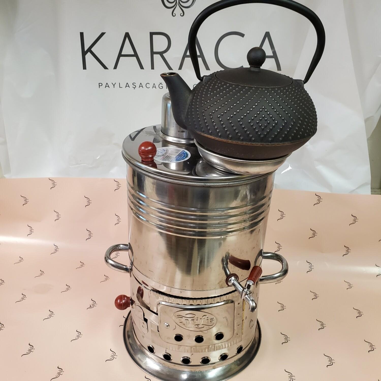 Zaris Samovar Semaver with Karaca teapot (Tek musluklu Komurlu semaver, Karaca demlik hediyeli)