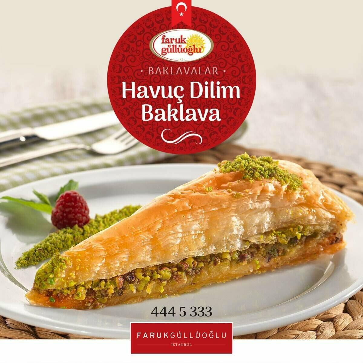Faruk Gullu Gulluoglu Fistikli Havuc Baklava / Carrot Slices with Pistachios Baklava 5.5lb