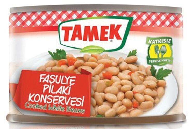 TAMEK COOKED WHITE BEANS 420GR CAN fASULYE PILAKI