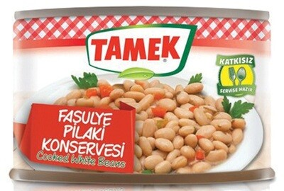 TAMEK COOKED WHITE BEANS 420GR CAN fASULYE PILAKI