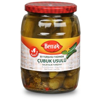 BERRAK GHERKIN PICKLES (CUBUK USULU SALATALIK TURSU) 1062ML GLASS
