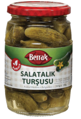 BERRAK GHERKIN PICKLES (SALATALIK TURSUSU) 370ML GLASS