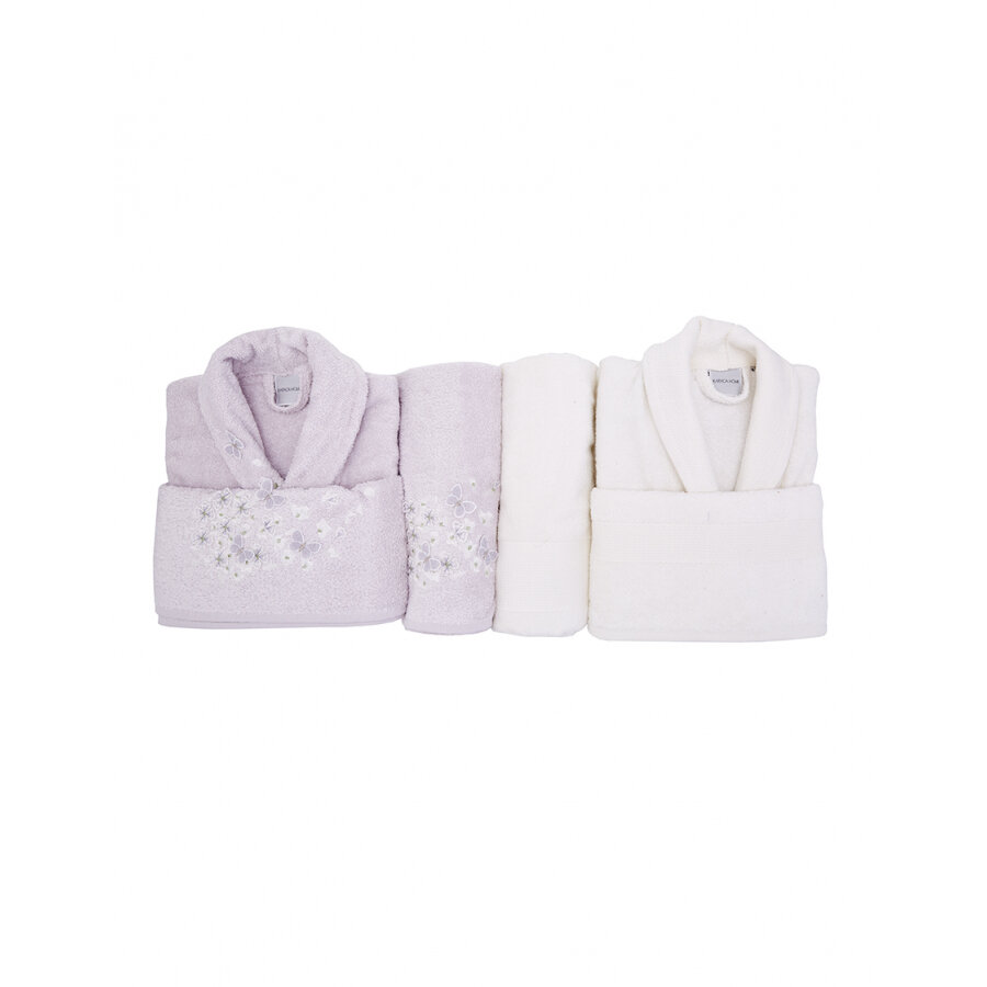 CORDELIA 3D EMBROIDERED LILA-OFFWHITE BAMBOO FAMILY SET