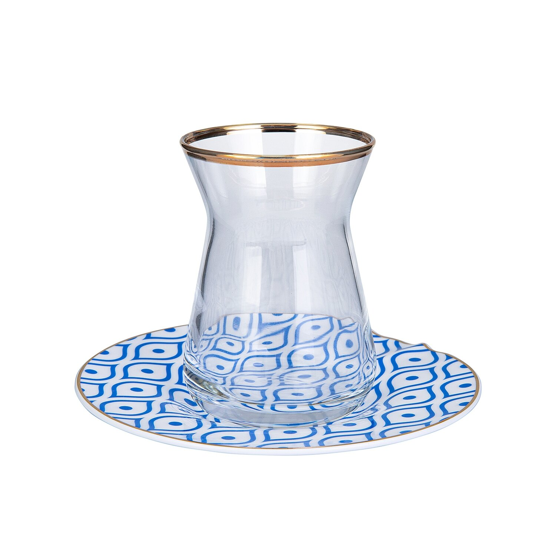 Karaca Fine Pearl Eye Blue 12 Parça İnci Çay Seti (Tea Set for 6)