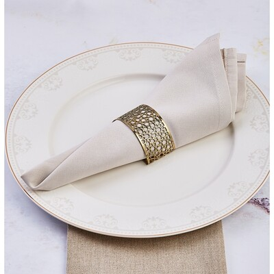 Karaca Seljuk Small 6-Piece Napkin Ring Set Gold