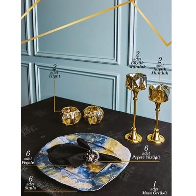 Karaca Black Gold Accessory Set 25 Pieces