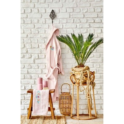 KH ANYA DAILY POWDER EMBROIDERED WOMEN'S BATHROBE SET