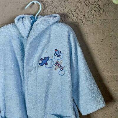 AIRSHIP 2-4 AGES BATHROBE-BLUE