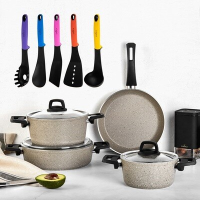 KARACA BIOGRANIT PINKGREY 7 PIECES COOKWARE