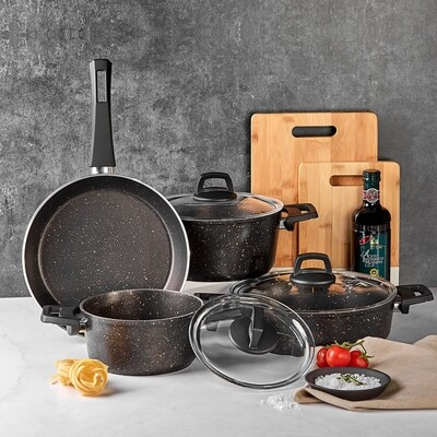 KARACA BIOGRANIT BLACKGOLD 7 PIECES COOKWARE