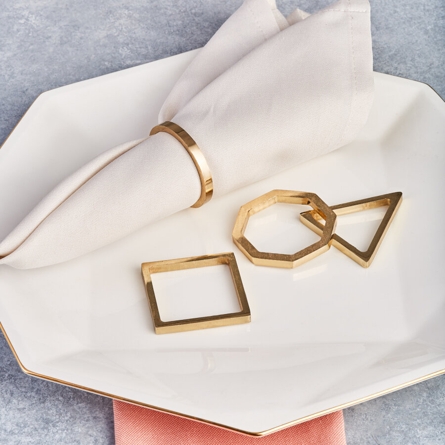 Karaca Geometric 4-Piece Napkin Ring Set Gold