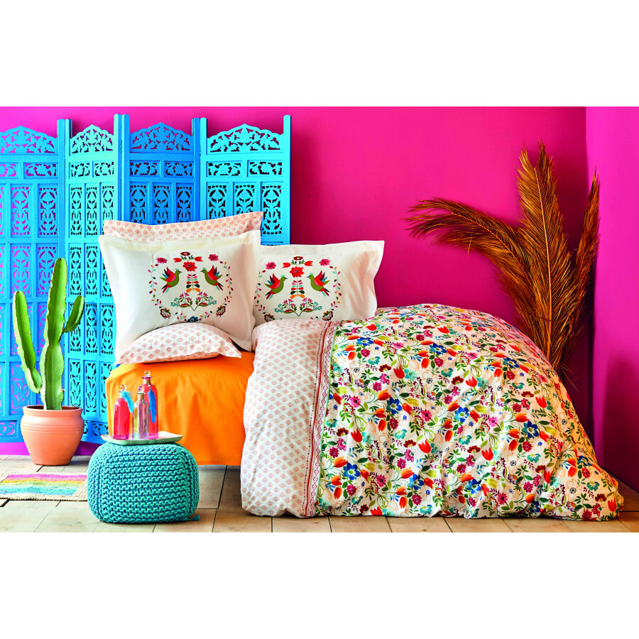 Karaca Home Parlin Fuchsia Cotton Double Duvet Cover Set