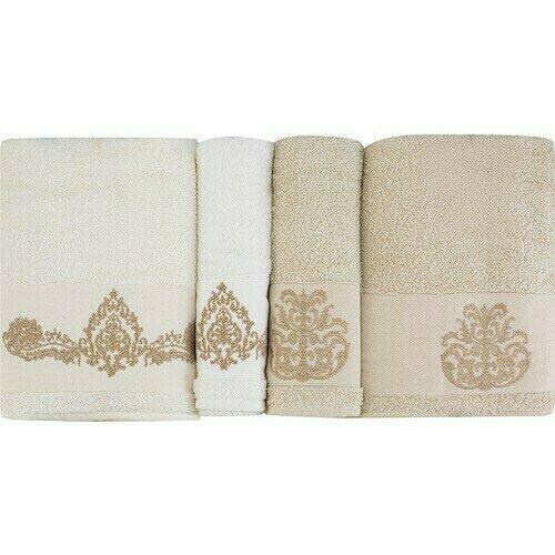 Karaca Home Eldora Simli Nakışlı Offwhite Bej Hamam Seti Towel set
