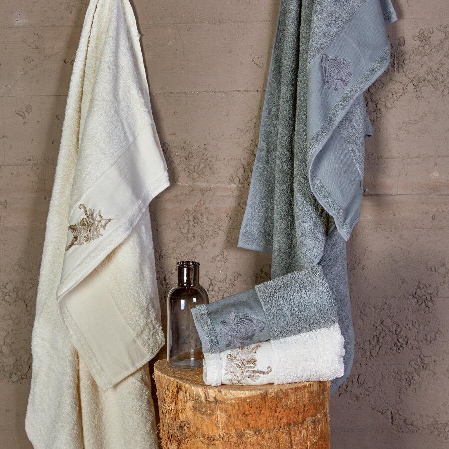 Karaca Home Fronda Offwhite Gray Silvery Embroidered Bath Set