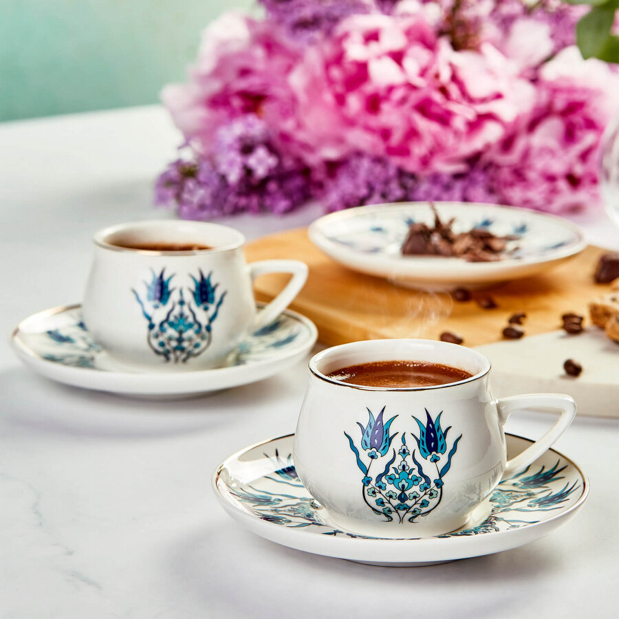 KARACA IZNIK YENI FORM 6 PERSON COFFEE SET