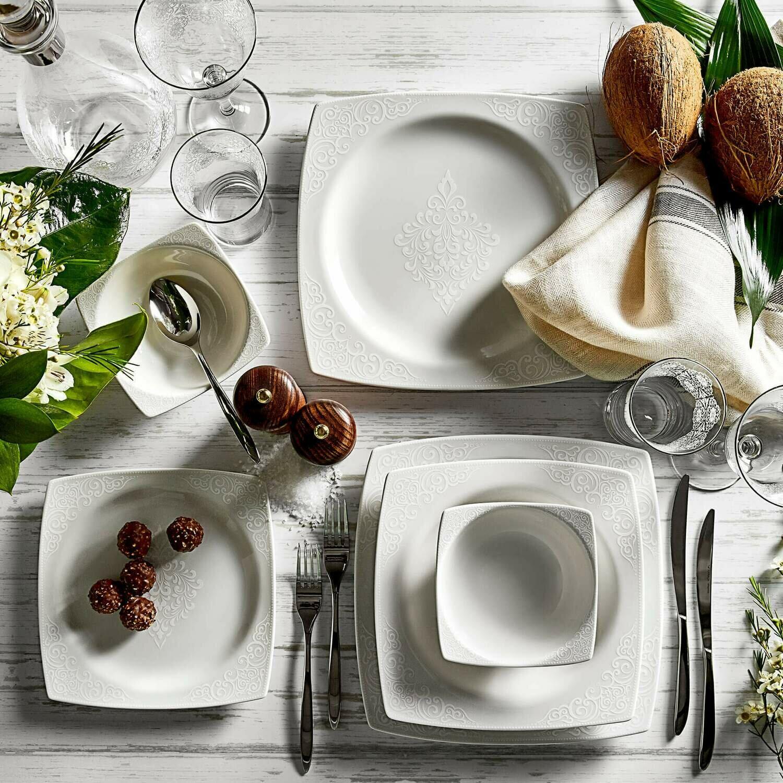 KARACA LADY 6 PERSON Dinner set SQUARE Dinnerware set