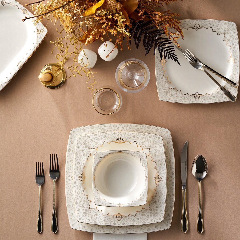KARACA MUHUR CREAM 60 PIECES  Dinner set GOLD SQUARE Dinnerware set