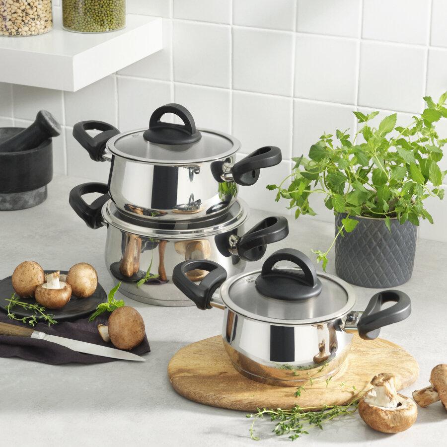 KARACA FLORYA CELIK - STEEL Midi SET 6 PIECES BLACK ANTIBACTERIAL Cookware