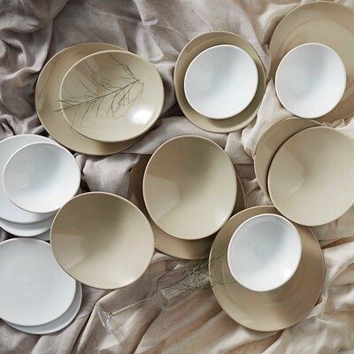 KARACA YASU BEJ 24 PIECES DINNERWARE