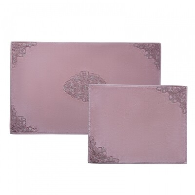 KARACA BIANCA POWDER 2 PIECES LACE BATH MAT (60X100 CM + 50X60CM)