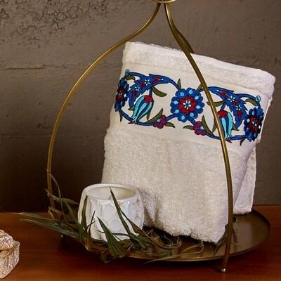 Karaca Home Mai Nakışlı Offwhite Family Bath Set Turkish