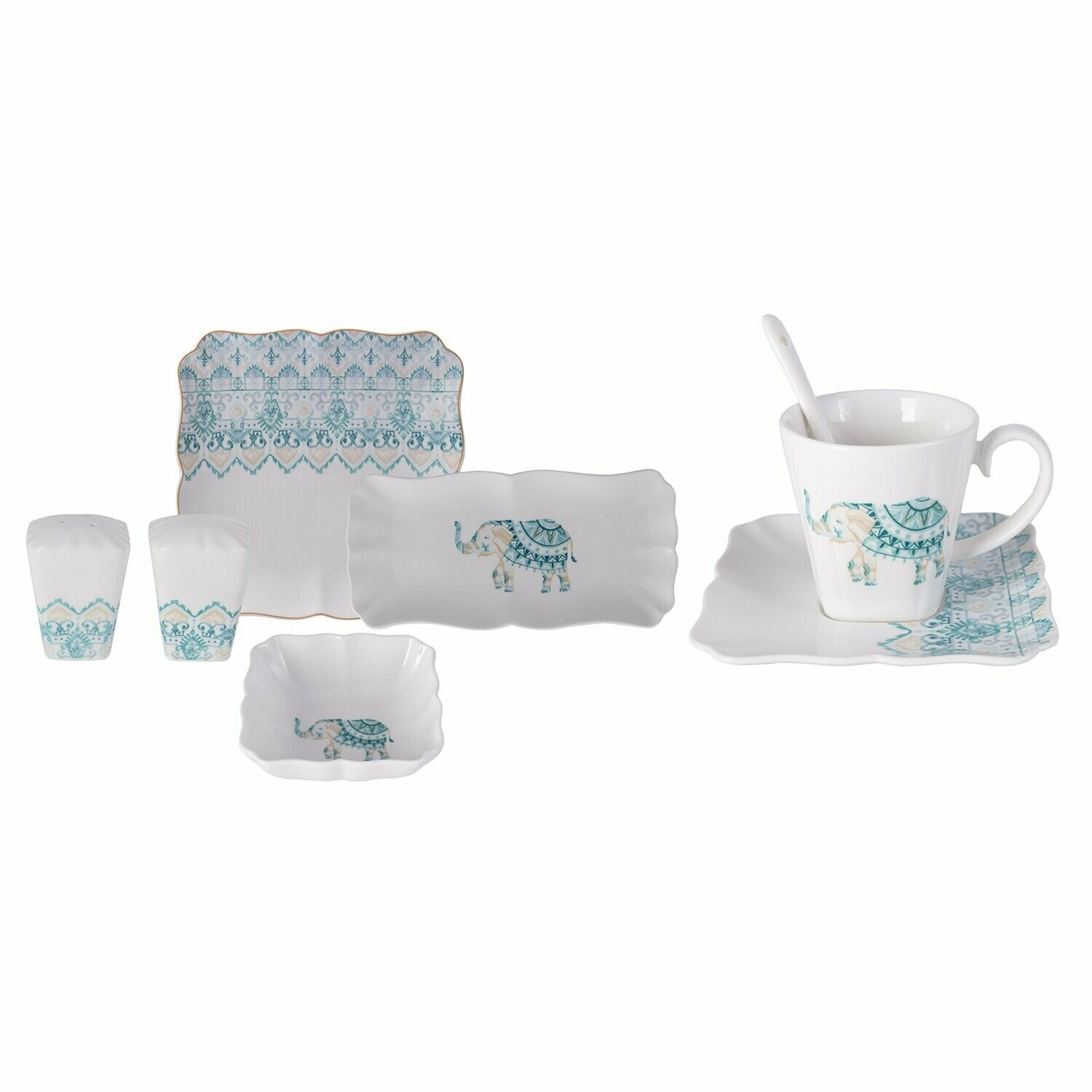 KARACA MARODISA BLUE 32 Pieces KAHVALTI SET KARE - Breakfast Set Square