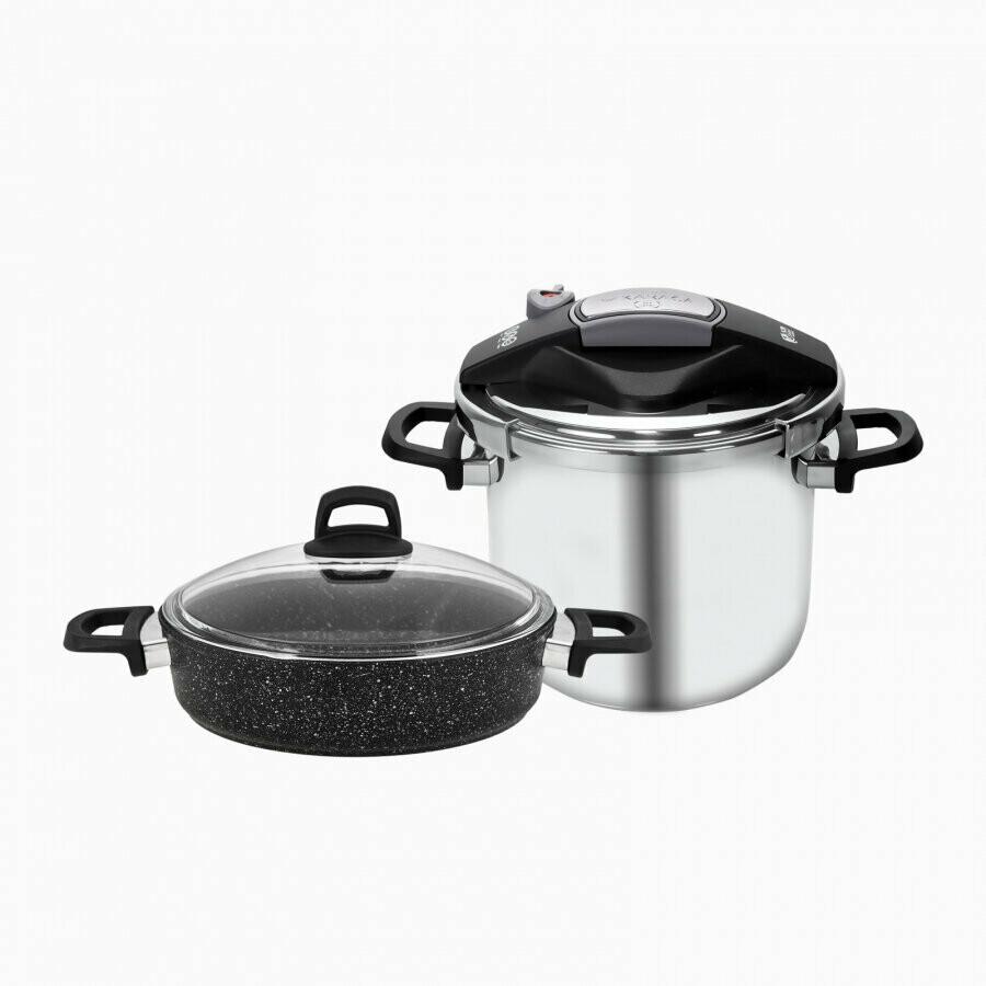 KARACA PERFECT 6 L Pressure Cooker+ Karniyarik Stew Pot SET COOKWARE