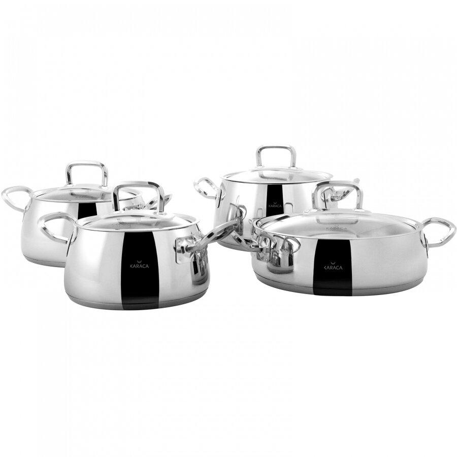 KARACA POWER STEEL NIKKO 8 Pcs CELIK COOKWARE  Stew Pot Set