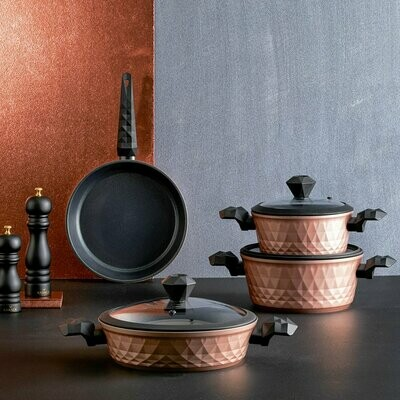 KARACA BIO DIAMOND ROSE GOLD 7 PIECES COOKWARE Stew Pot Set