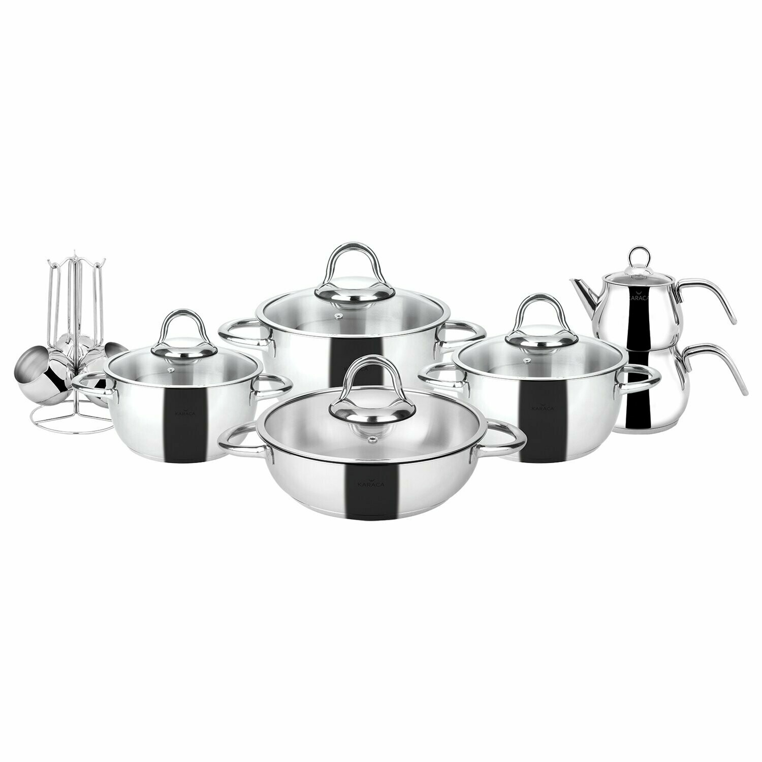 Karaca Sevilla 15 Piece Steel Dowry Set CookWARE WITH TEAPOT