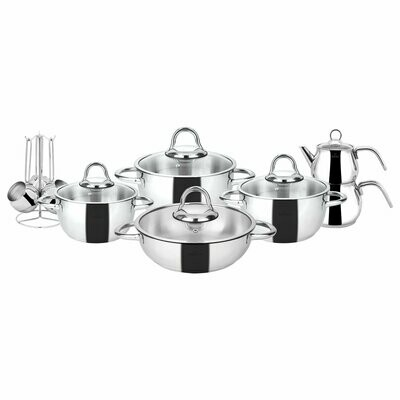 Karaca Sevilla 15 Piece Steel Dowry Set DINNER WARE WITH TEA POT