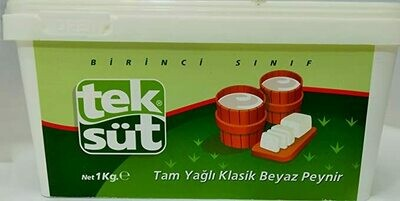 Teksut Tam Yagli Inek Peyniri - Full Fat Sheep`s Milk Cheese in brine 1 Kg ( 2.2 Lbs )