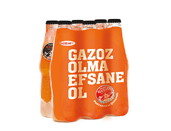 ULUDAG GAZOZ Orange SUGAR FREE 250ML GLASS (6 Pack)